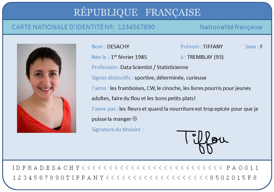 Carte identité Tiffany
