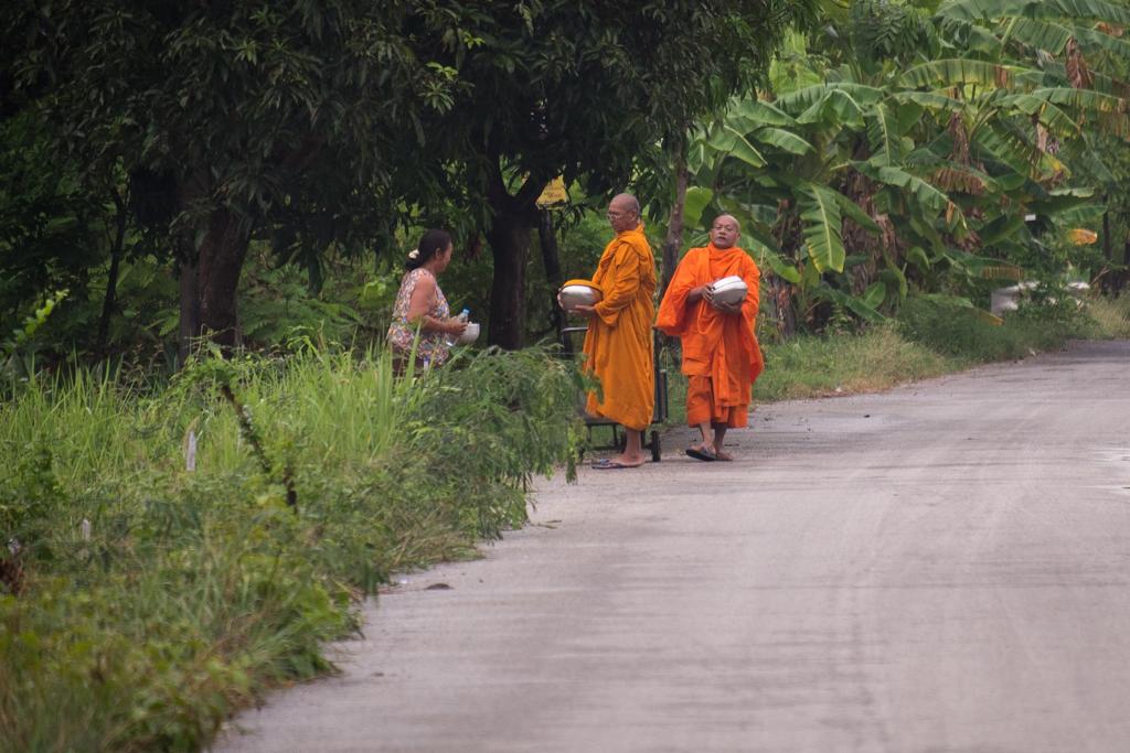 Aumône nourriture moines bouddhistes